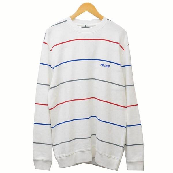 【中古】PALACE 2019SS WAFFLER STRIPE CREW NECK ワッフル ボーダーロンT Tシャツ ホワイト サイズ:L 【040320】(パレス)