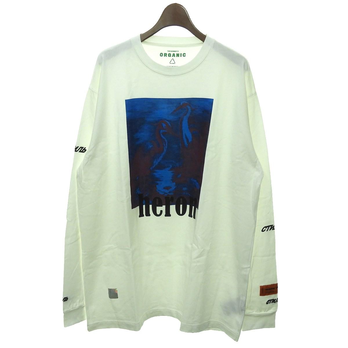 【中古】HERON PRESTON プリント長袖Tシャツ ホワイト サイズ:M 【060320】(ヘロンプレストン)