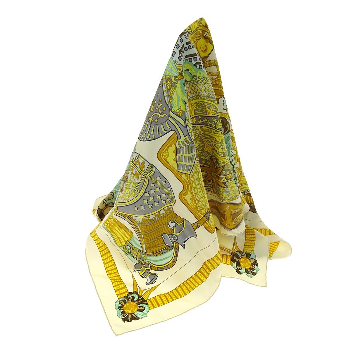 【中古】HERMES カレ90 ARMETS en PANACHE 羽飾りの兜 クリーム サイズ:- 【050320】(エルメス)