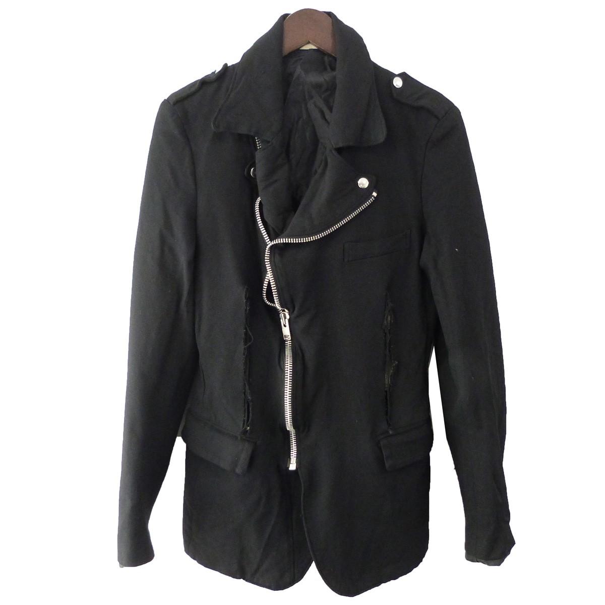 【中古】COMME des GARCONS HOMME PLUS 12AW 特殊加工ダブルライダースジャケット ブラック サイズ:M 【050320】(コムデギャルソンオムプリュス)