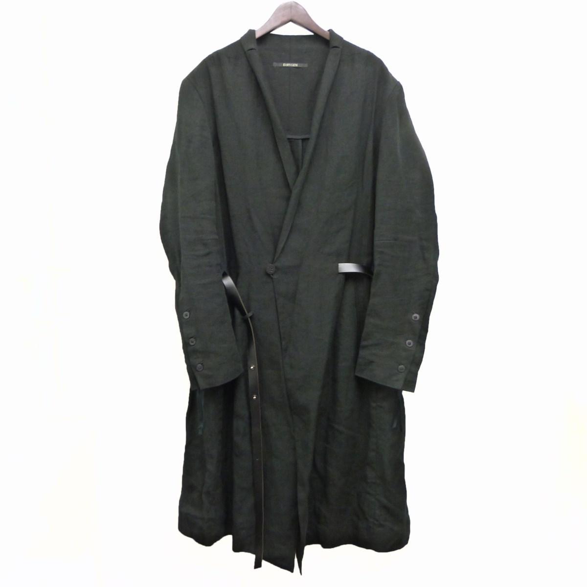【中古】D.HYGEN19SS「Linen gown coat」リネンガウンコート ブラック サイズ:4 【4月27日見直し】