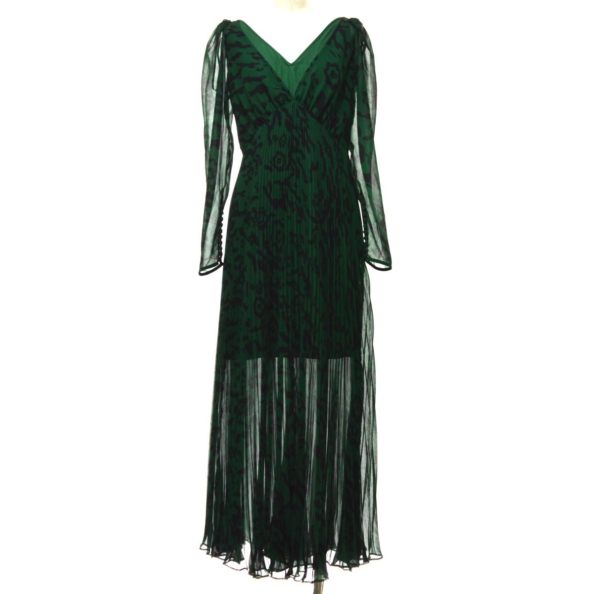 【中古】SELF PORTRAIT 20SS Leppard Chiffon Maxi Dress ドレス グリーン サイズ:2 【060320】(セルフポートレイト)