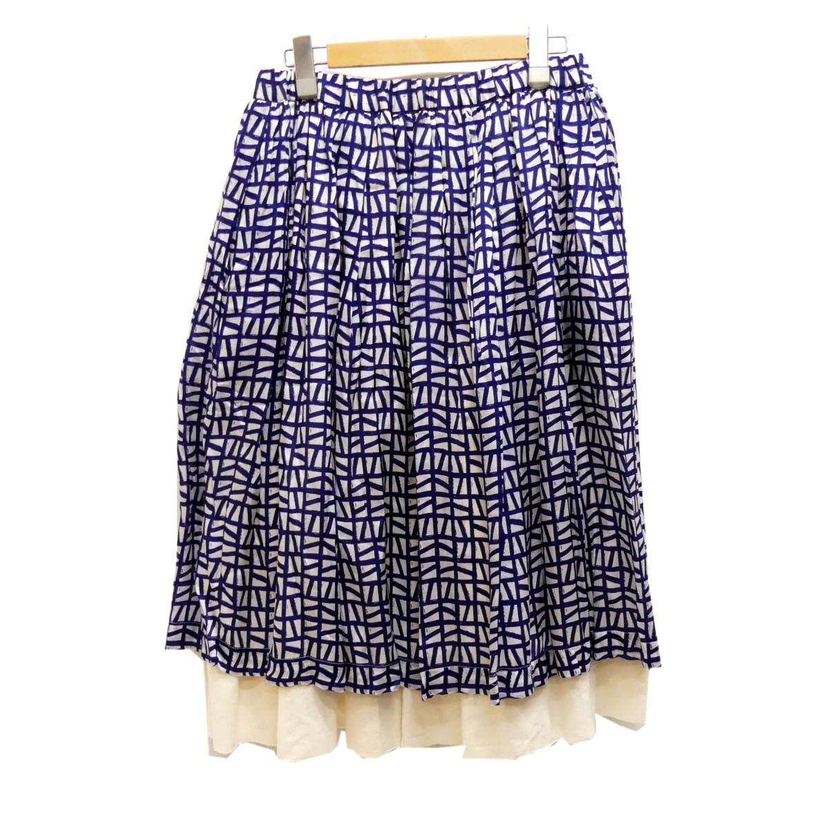 【中古】COMME des GARCONS2019SS シルクスカート ネイビー×ホワイト サイズ:SIZE S