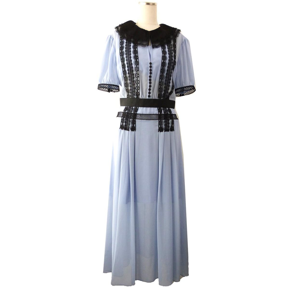 【中古】SELF PORTRAIT 「Lace Trim Peasant Dress」レーストリムワンピース ブルー×ブラック サイズ:UK8 【060320】(セルフ・ポートレイト)
