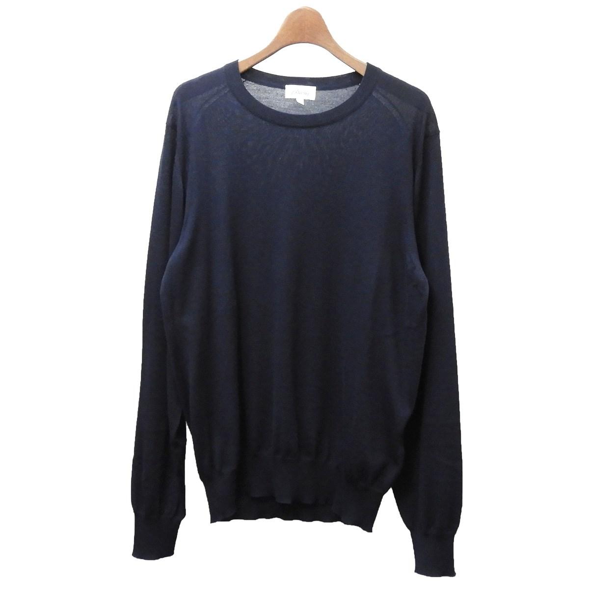 【中古】Brioni クルーネックニットセーター ネイビー サイズ:50 【070320】(ブリオーニ)