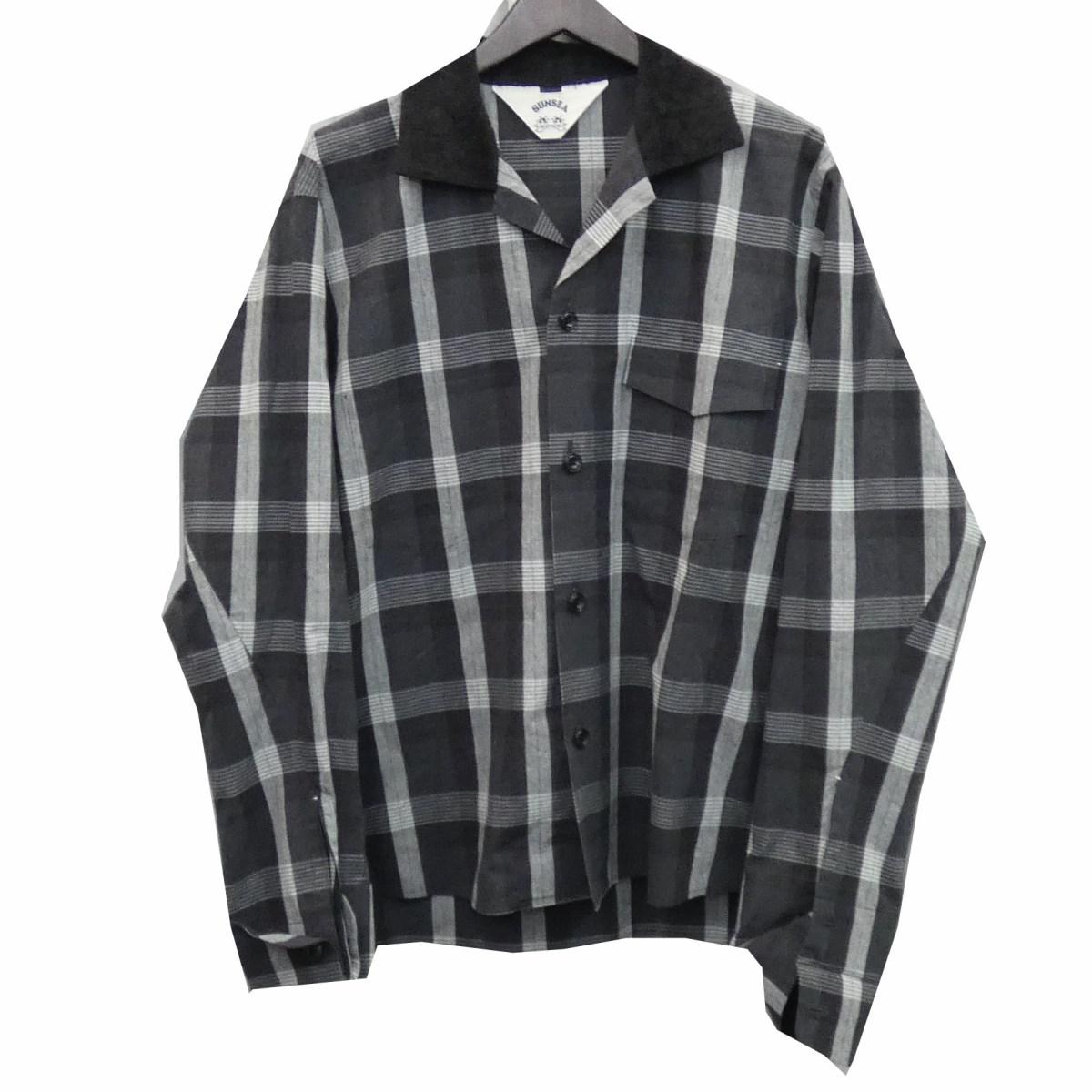 【中古】SUNSEA 18SS 「CHECK GIG OLD SHIRT」 チェックシャツ ブラック×グレー サイズ:2 【060320】(サンシー)