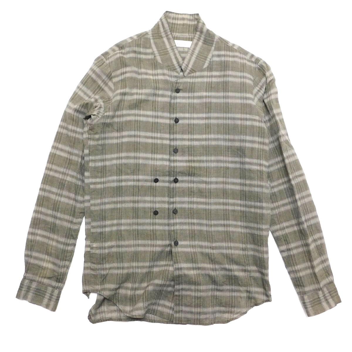 【中古】ensou. Stand Collar Shirt チェックスタンドカラーシャツ グレー サイズ:S 【060320】(エンソウ)