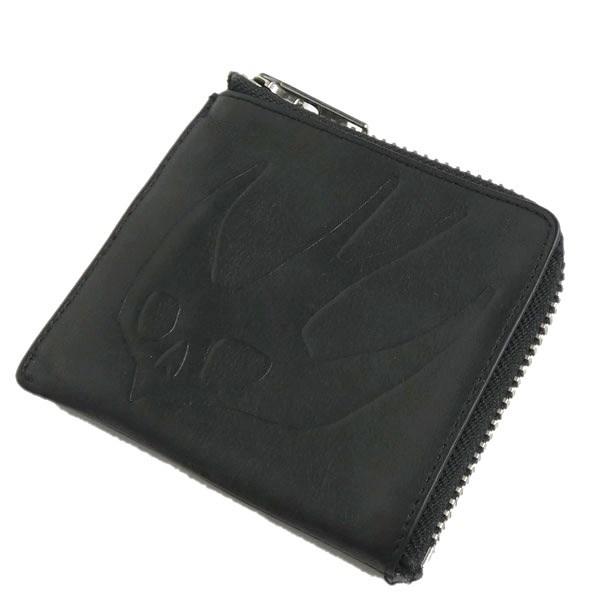 マックキュー 中古 MCQ Swallow embossed leather ラウンドジップコインケース 大放出セール purse coin 11月30日見直し 春の新作続々 ブラック