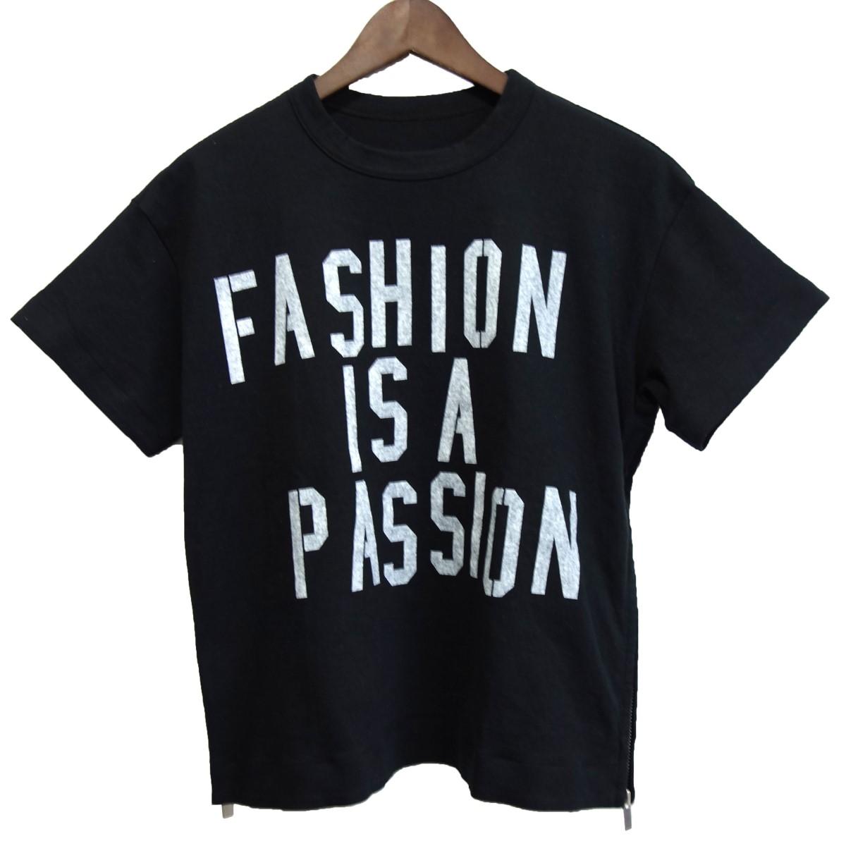 【中古】sacai 「FASHION IS A PASSION」 プリントTシャツ ブラック サイズ:1 【070320】(サカイ)