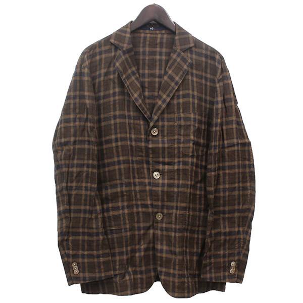【中古】45Rリネン3Bチェックテーラードジャケット ブラウン サイズ:4 【4月6日見直し】