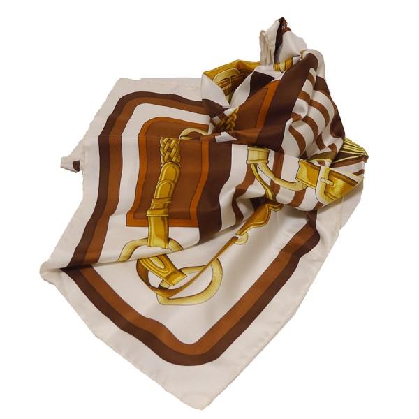 【中古】HERMES カレ90 COACHING 馬具柄 スカーフ ブラウン×ゴールド 【070320】(エルメス)