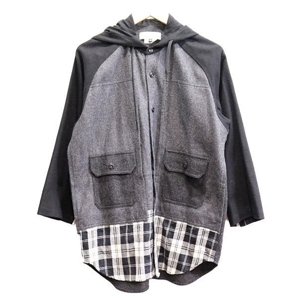 【中古】GANRYU 13AW フーデッドウールシャツジャケット グレー サイズ:M 【070320】(ガンリュウ)