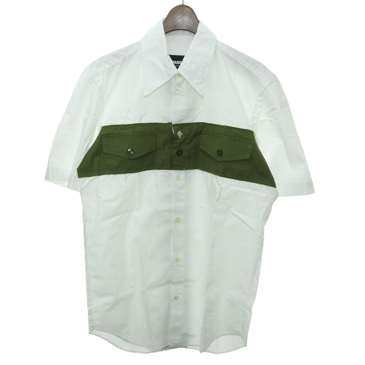人気商品の 【】YANG LI2019SS 「SHORT SLEEVE INSERT SHIRT」 切替半袖シャツ ホワイト×カーキ サイズ:46 【7月9日見直し】, だっちょん先生 b0ca1016