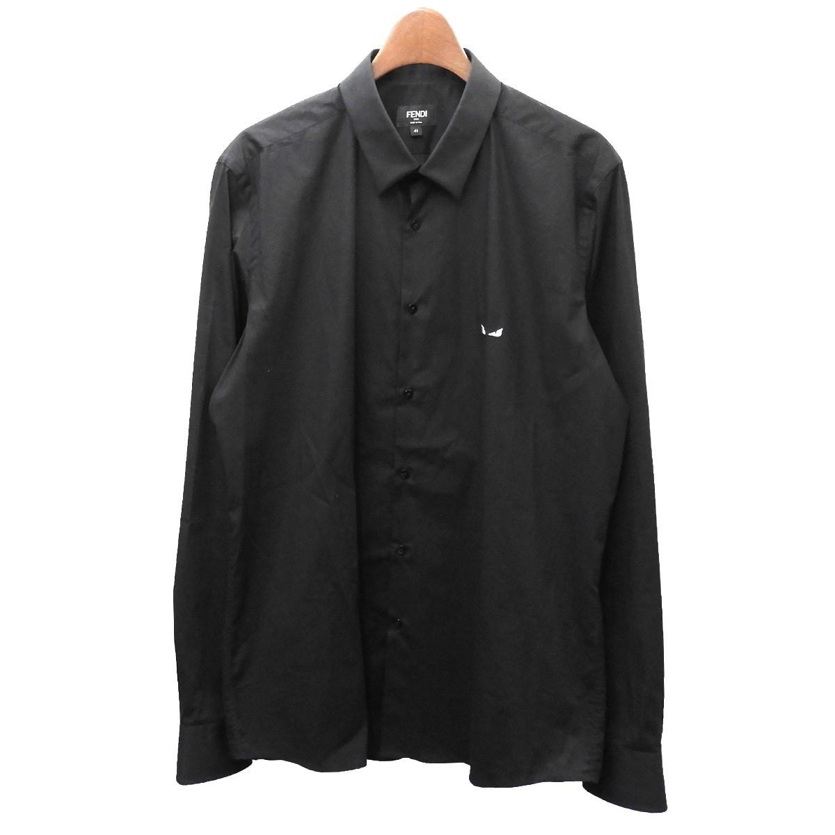 【中古】FENDI モンスターバグズ刺繍シャツ ブラック サイズ:41 【080320】(フェンディ)