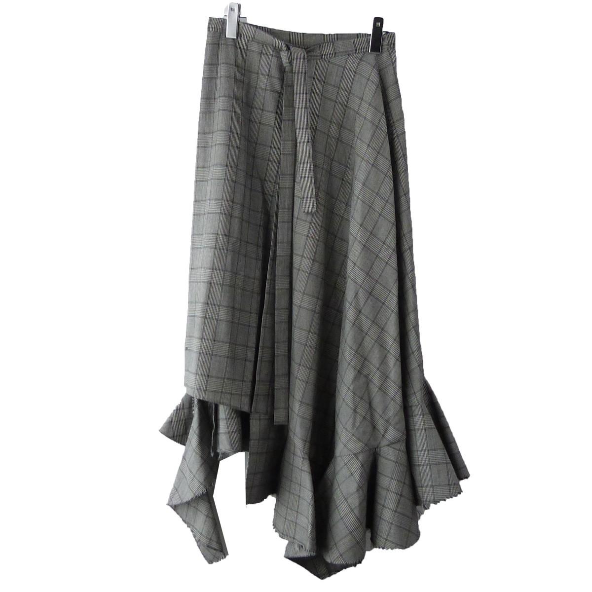 【中古】IRENE 18AW 「Check Asymmetric Skirt」チャックアシンメトリースカート グレー サイズ:38 【080320】(アイレネ)