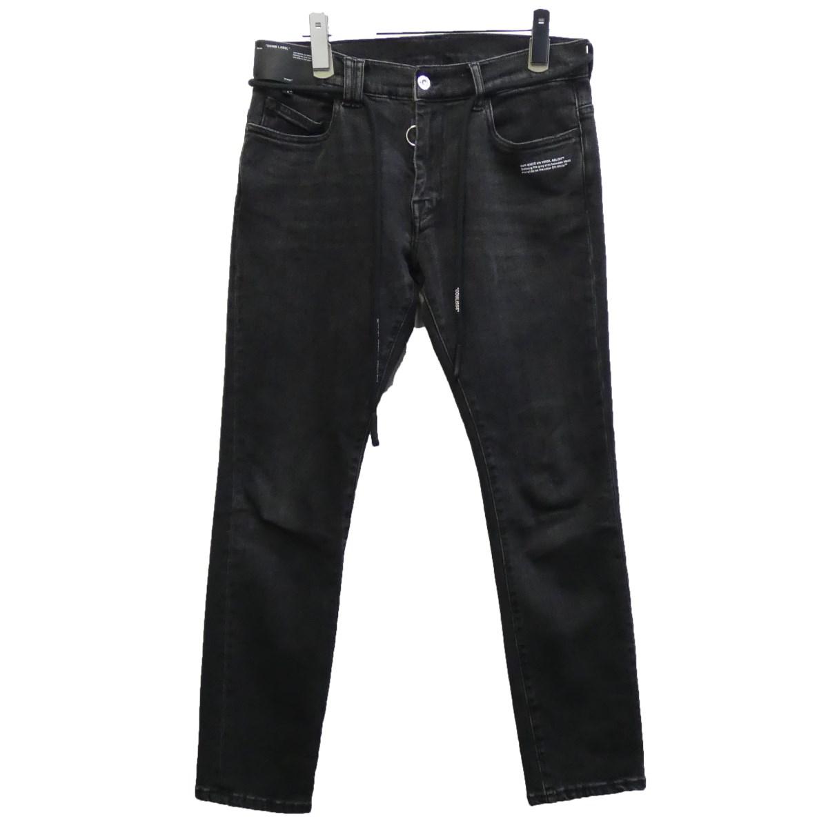 【中古】OFFWHITE 2019SS ポケットバイアスドローコードデニムパンツ ブラック サイズ:30 【080320】(オフホワイト)