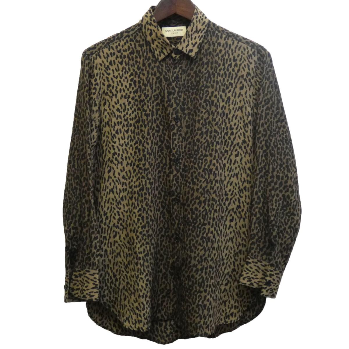 【中古】SAINT LAURENT PARIS ベイビーキャットシャツ ブラウン サイズ:37 【080320】(サンローランパリ)