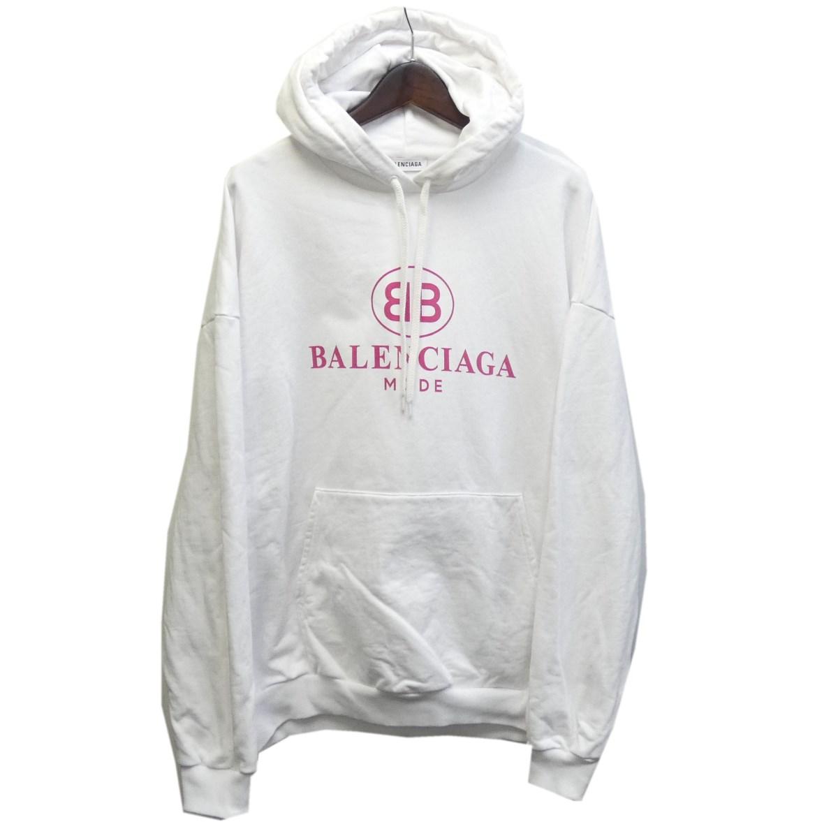 【中古】BALENCIAGA エンブレムロゴプルオーバーパーカー 501656 ホワイト サイズ:XS 【080320】(バレンシアガ)