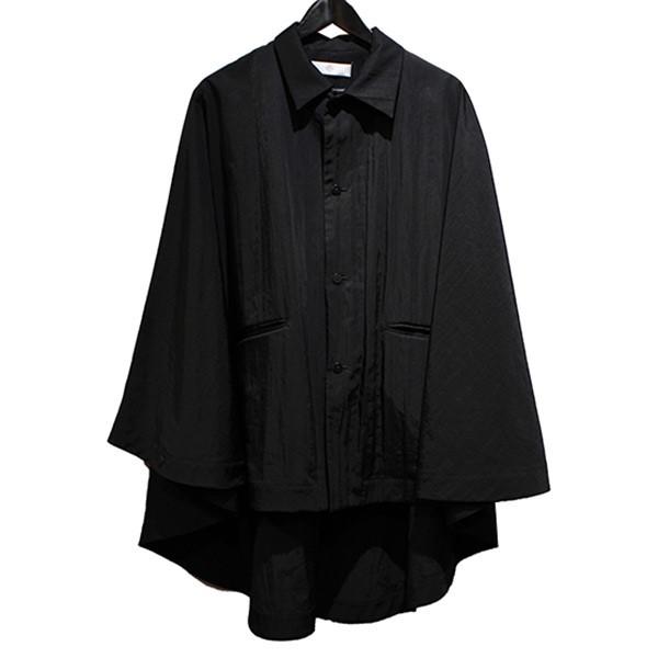 【中古】ETHOSENS 18SS ナイロンポンチョ シワ加工 オーバーサイズジャケット ブラック サイズ:2 【080320】(エトセンス)