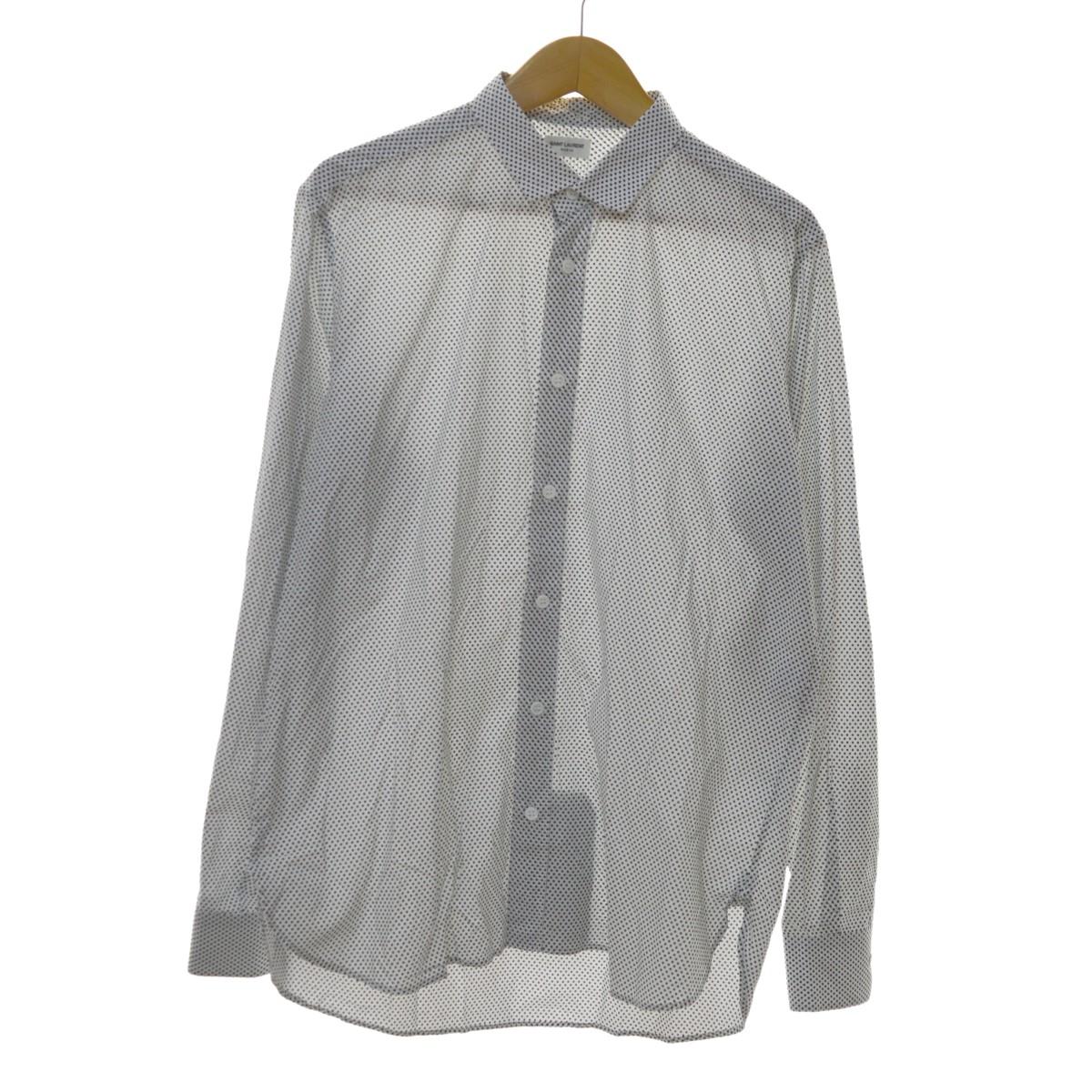 【中古】SAINT LAURENT PARIS レギュラーカラードットシャツ ホワイト×ブラック サイズ:40 15 3/4 【100320】(サンローランパリ)