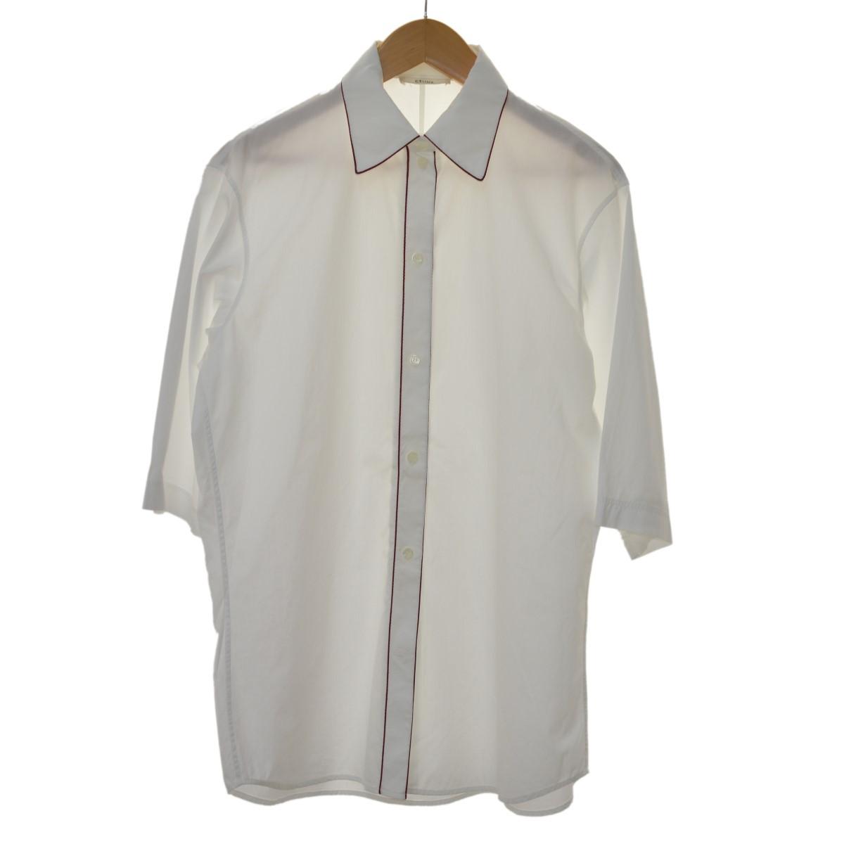 【中古】CELINE パイピングハーフスリーブシャツ ホワイト サイズ:34 【100320】(セリーヌ)