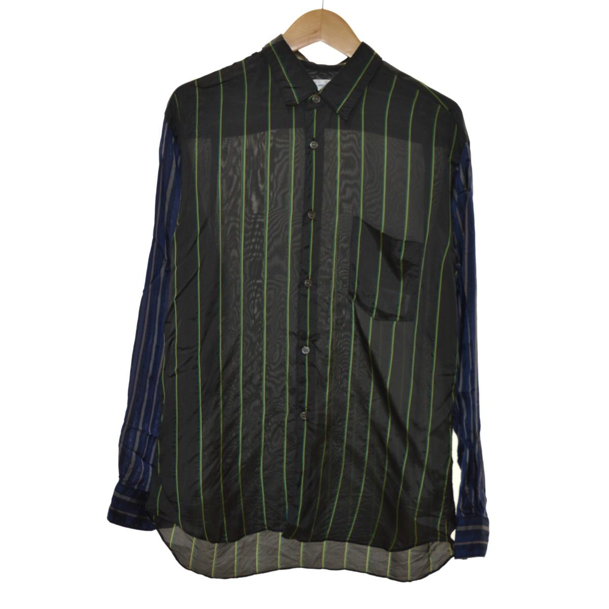 【中古】COMME des GARCONS SHIRT 19SS 切り替えストライプシャツ ブラック サイズ:S 【100320】(コムデギャルソンシャツ)