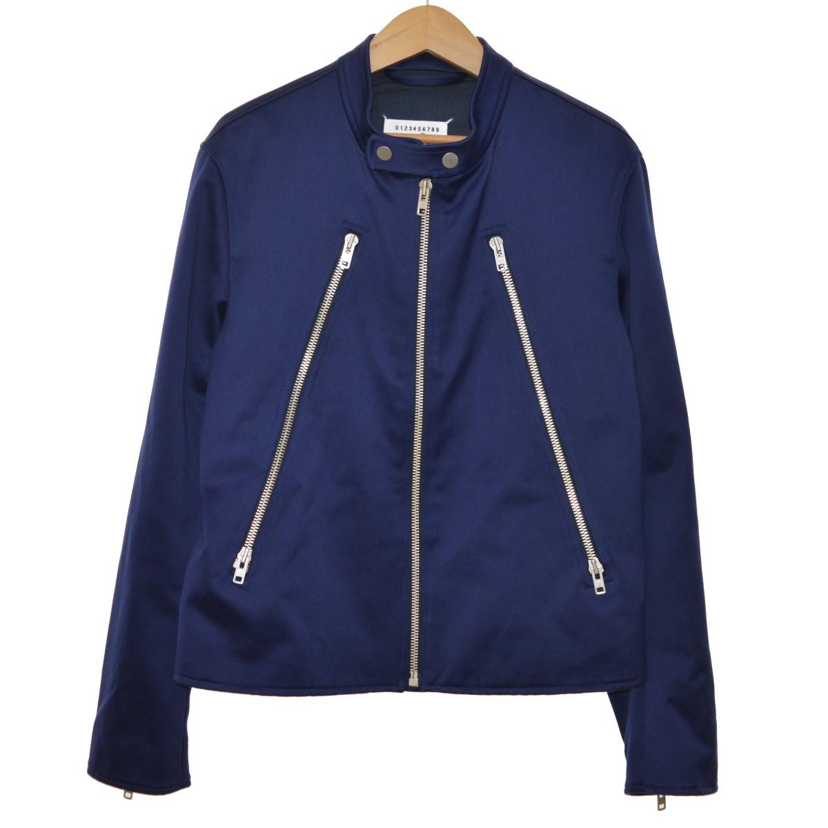 【中古】Maison Margiela 1419SS Sport Jacket コットン 八の字 ライダースジャケット ネイビー サイズ:50 【5月14日見直し】