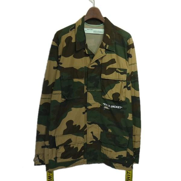 【中古】OFFWHITE2018AW「Military Field Jacket」カモフラミリタリージャケット グリーン×ブラウン サイズ:S 【4月27日見直し】