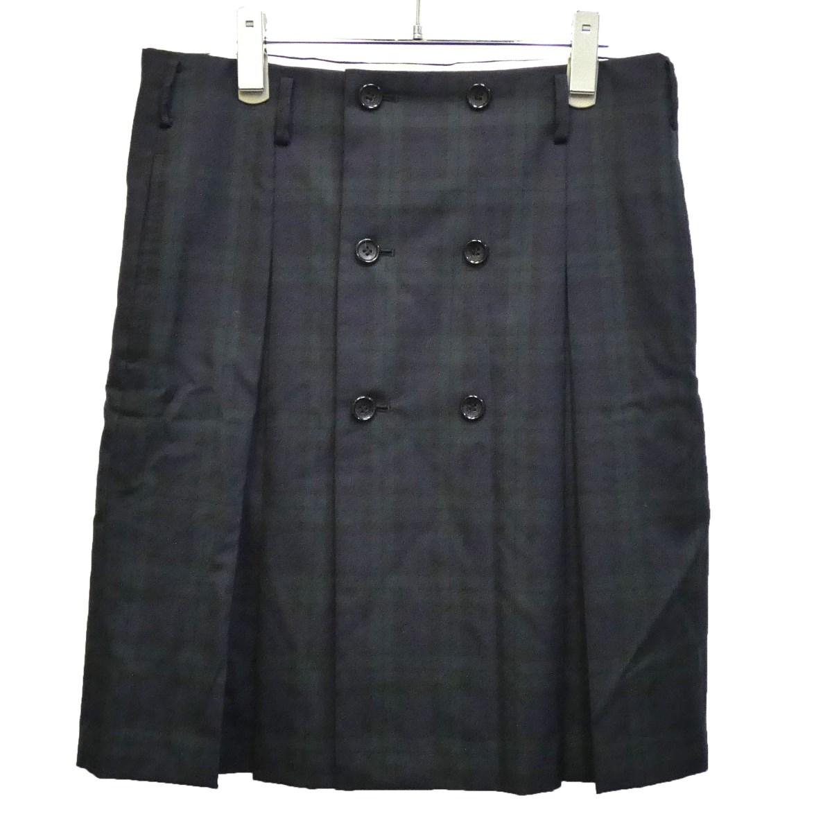 【中古】COMME des GARCONS HOMME PLUS 2011SS チェックスカート ブラック×グリーン サイズ:XS 【110320】(コムデギャルソンオムプリュス)