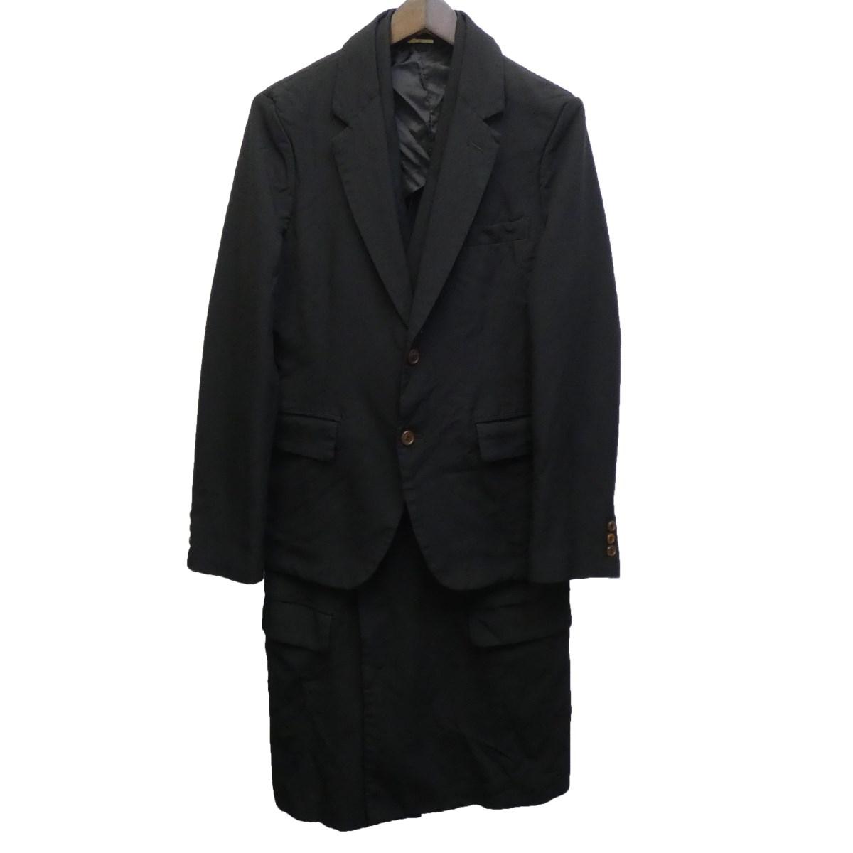 【中古】COMME des GARCONS HOMME PLUS 2019AW ドッキングチェスターコート ブラック サイズ:XS 【110320】(コムデギャルソンオムプリュス)