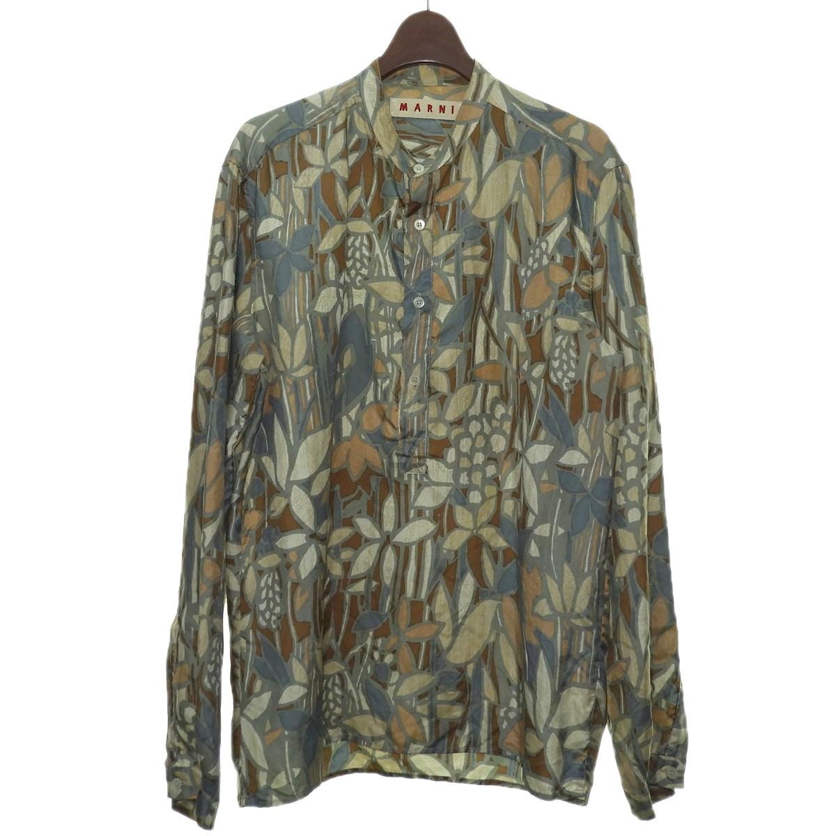 マルニ 正規激安 中古 MARNIプルオーバーシルクシャツ 7月16日見直し サイズ:44 グリーン×ベージュ メーカー直売