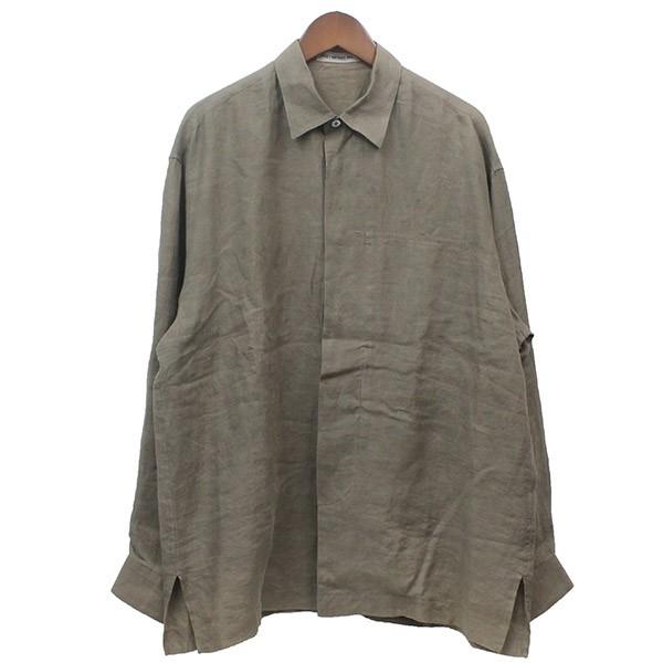 【中古】ISSEY MIYAKE MENオーバーサイズリネンシャツ ベージュ サイズ:M