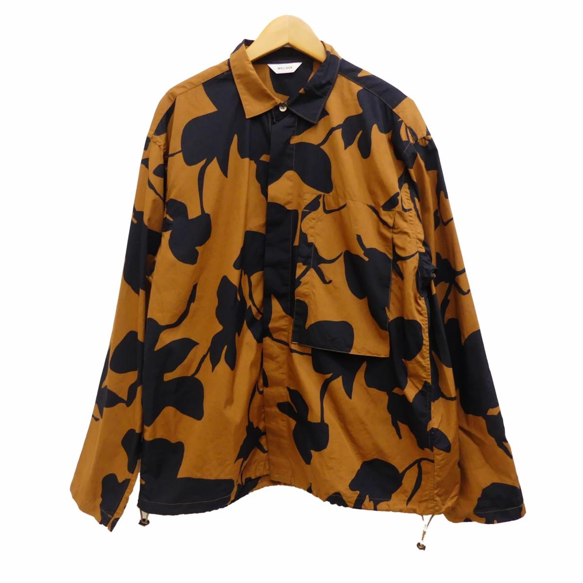 【中古】WELLDER Drawstring Shirts 総柄シャツ ブラック×ブラウン サイズ:5 【120320】(ウェルダー)