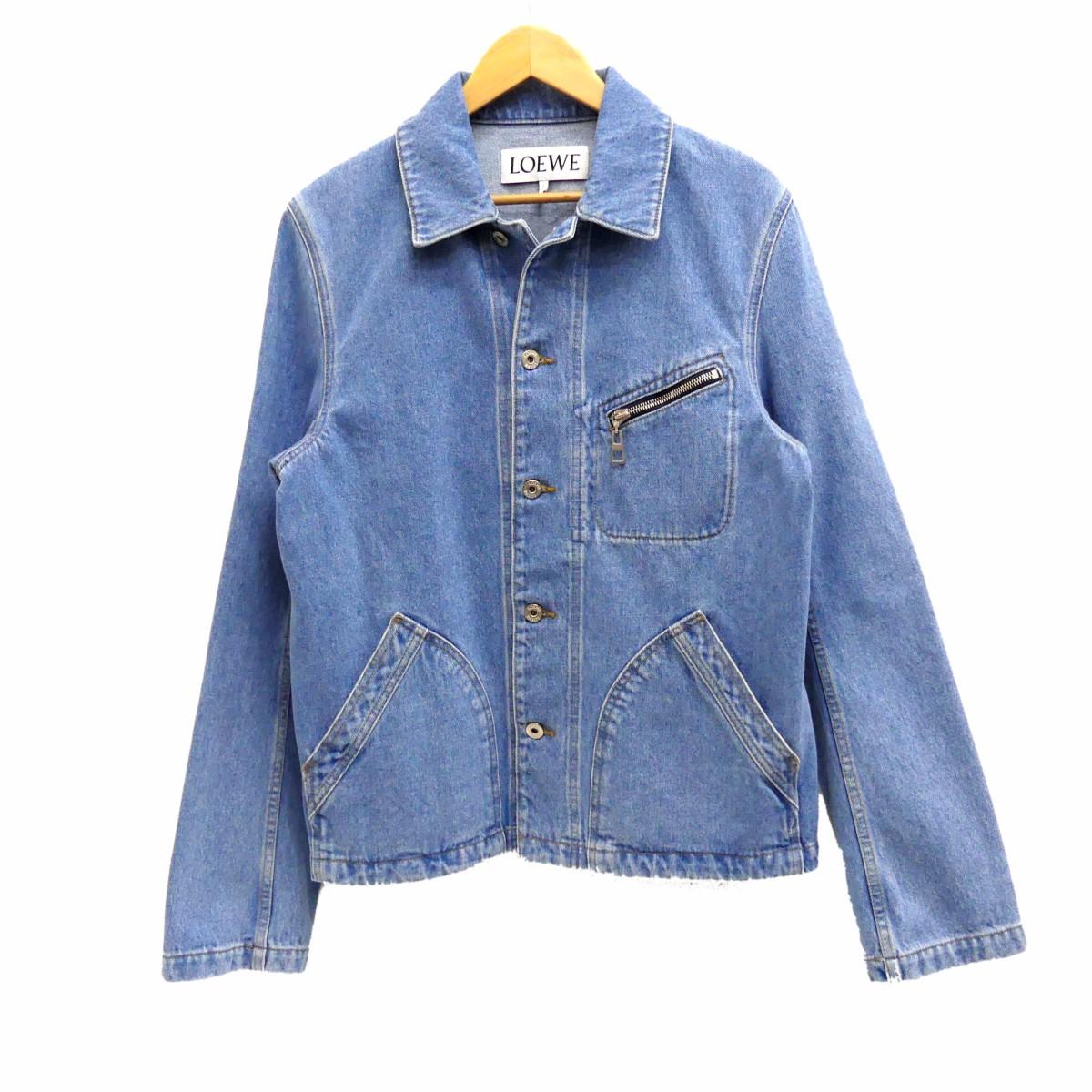 【中古】LOEWE2019AW Short Plain Denim Jackets デニムジャケット インディゴ サイズ:44 【5月14日見直し】