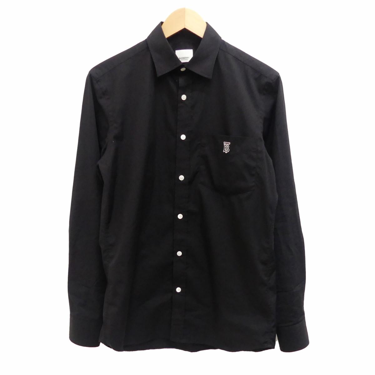 【中古】BURBERRY Long Sleeves Cotton Shirts ロゴ刺繍シャツ ブラック サイズ:S 【120320】(バーバリー)