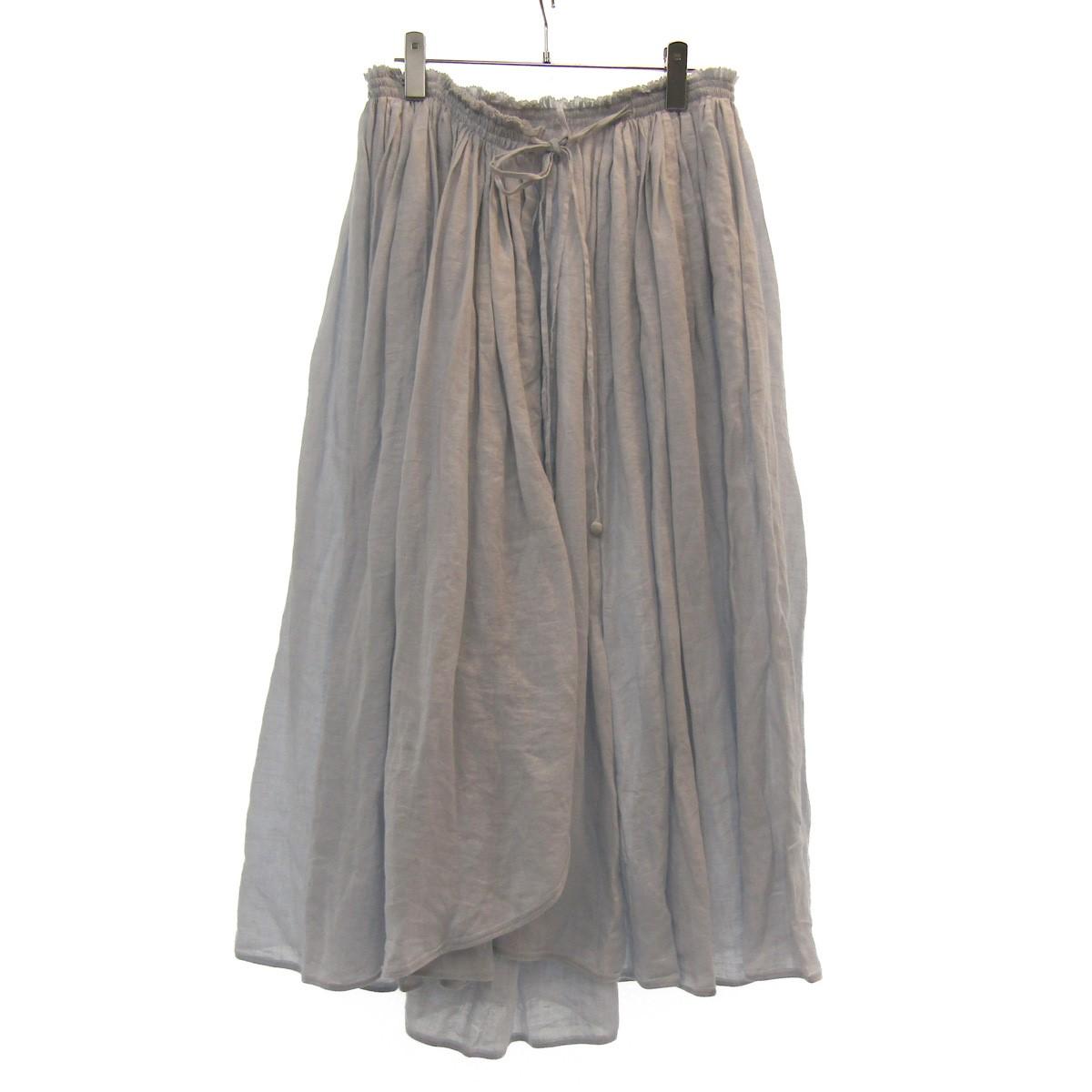 【中古】mina perhonen 19SS ギャザーラップスカート ライトグレー サイズ:- 【120320】(ミナペルホネン)