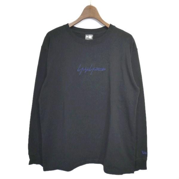 【中古】YohjiYamamoto pour homme×NEW ERA LS TEE 2019SS「LS TEE」ロゴ刺繍ロングスリーブカットソー ブラック サイズ:4 【130320】(ヨウジヤマモトプールオム×ニューエラ)
