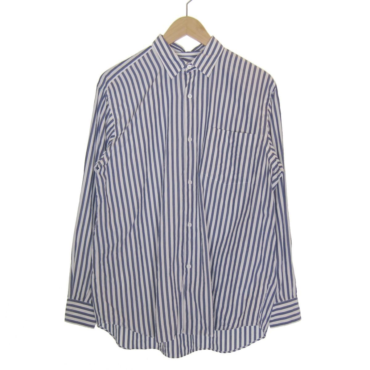 【中古】COMOLI ストライプコモリシャツ ホワイト×ブルー サイズ:2 【120320】(コモリ)
