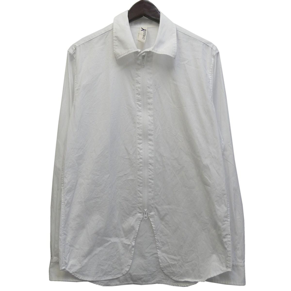 【中古】Ground Y 2017SS ジップシャツ ホワイト サイズ:3 【120320】(グラウンド ワイ)