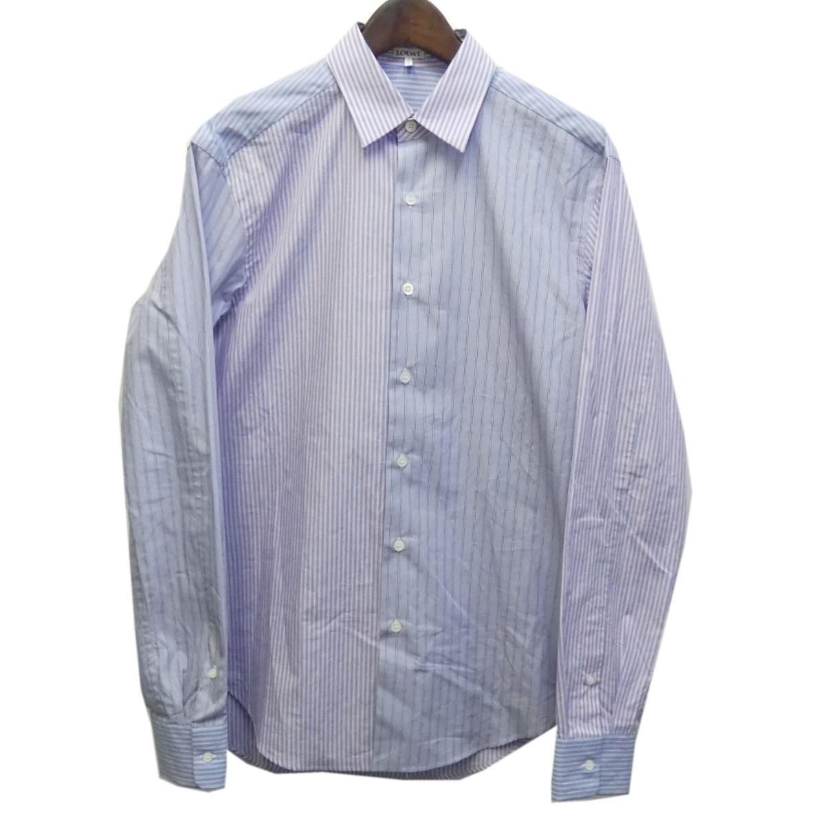 【中古】LOEWE マルチストライプシャツ ブルー サイズ:39 【120320】(ロエベ)