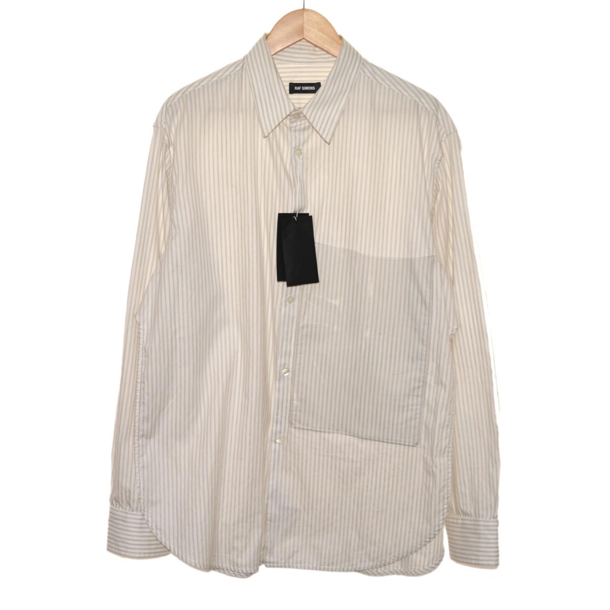 【中古】RAF SIMONS 18AW クリアパッチ付きストライプシャツ ホワイト×ベージュ サイズ:48 【140320】(ラフシモンズ)