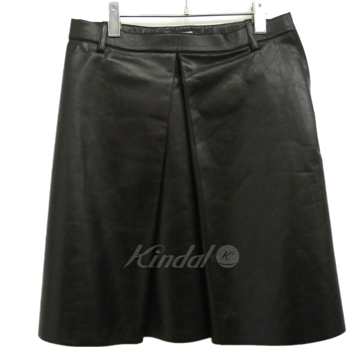 【中古】BALENCIAGA16AW レザースカート ブラック サイズ:36 【7月9日見直し】