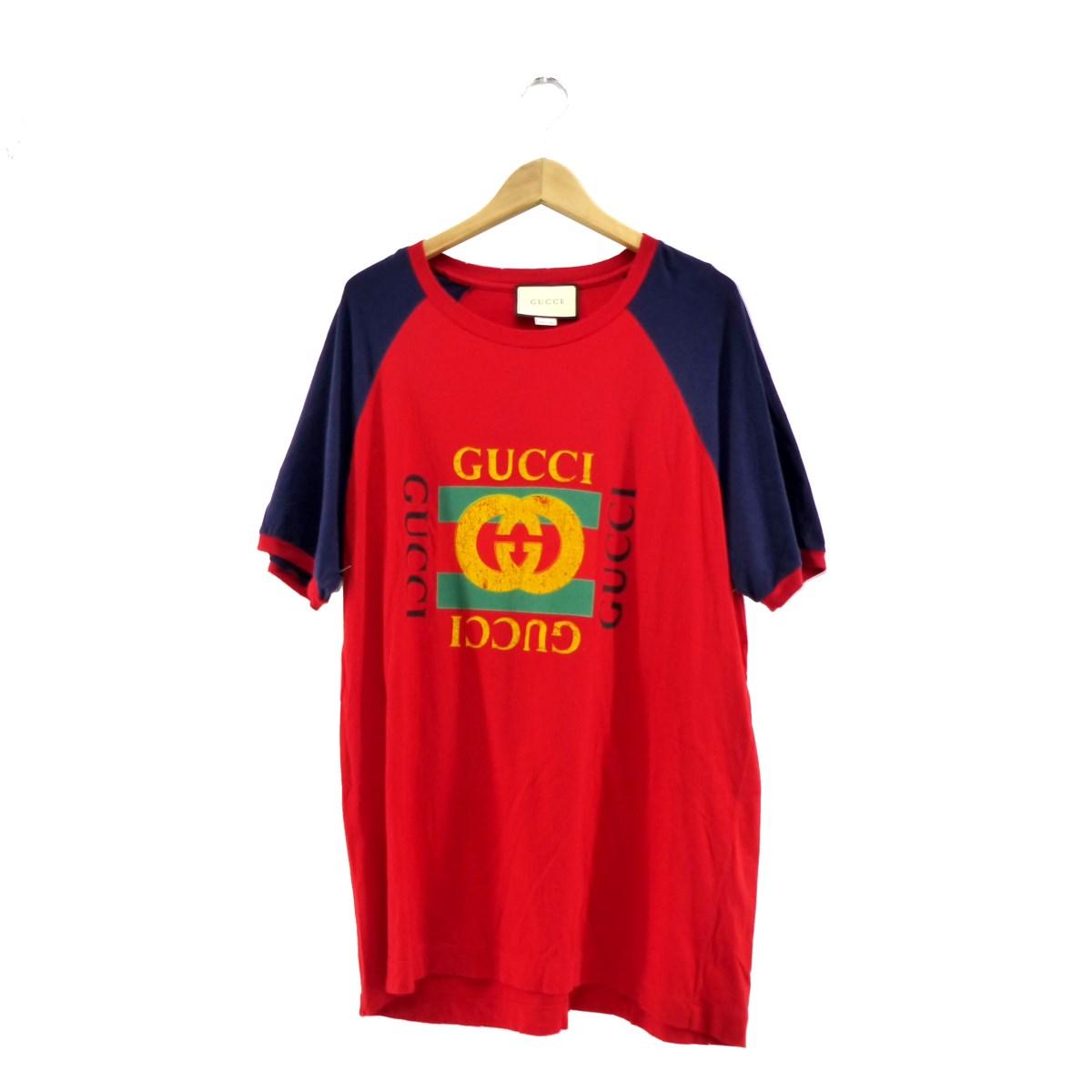 【中古】GUCCI オールドロゴTシャツ レッド サイズ:XL 【140320】(グッチ)