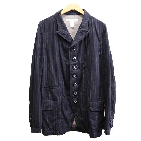 【中古】COMME des GARCONS SHIRT 19AW ストライプボタンデザインジャケット ネイビー サイズ:M 【140320】(コムデギャルソンシャツ)