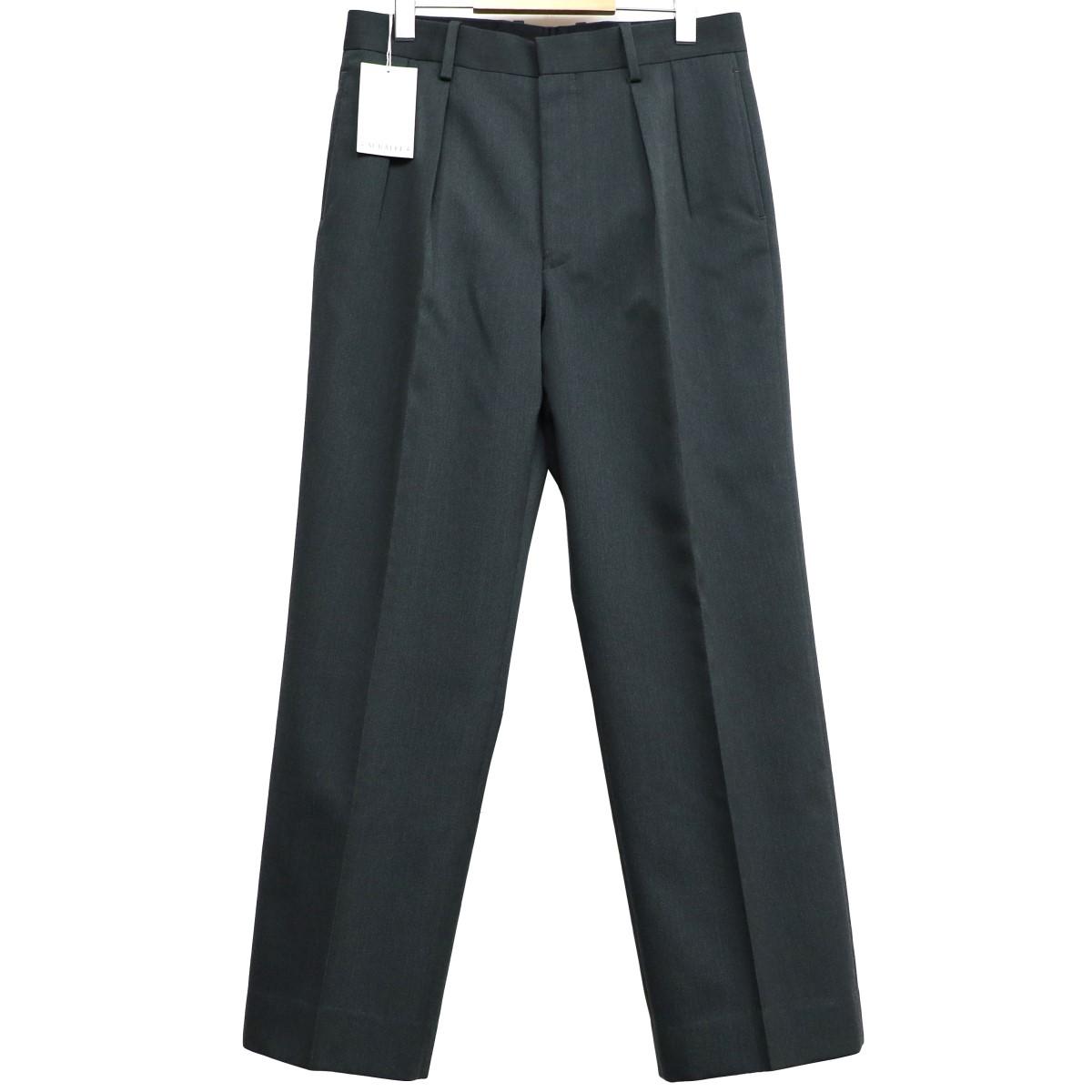 【中古】AURALEE 18AW Wool Kidmohair Gabardine Wide Slacksスラックスパンツ ダークオリーブ サイズ:3(80cm) 【140320】(オーラリー)