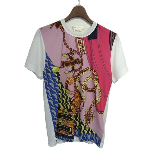 【中古】COMME des GARCONS 2019SS スカーフ柄Tシャツ ホワイト サイズ:M 【150320】(コムデギャルソン)