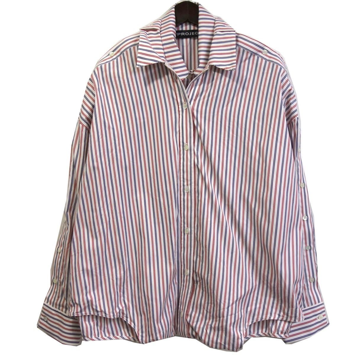 【中古】Y/PROJECTオーバーサイズレイヤードストライプシャツ ホワイト×レッド サイズ:XS 【7月6日見直し】