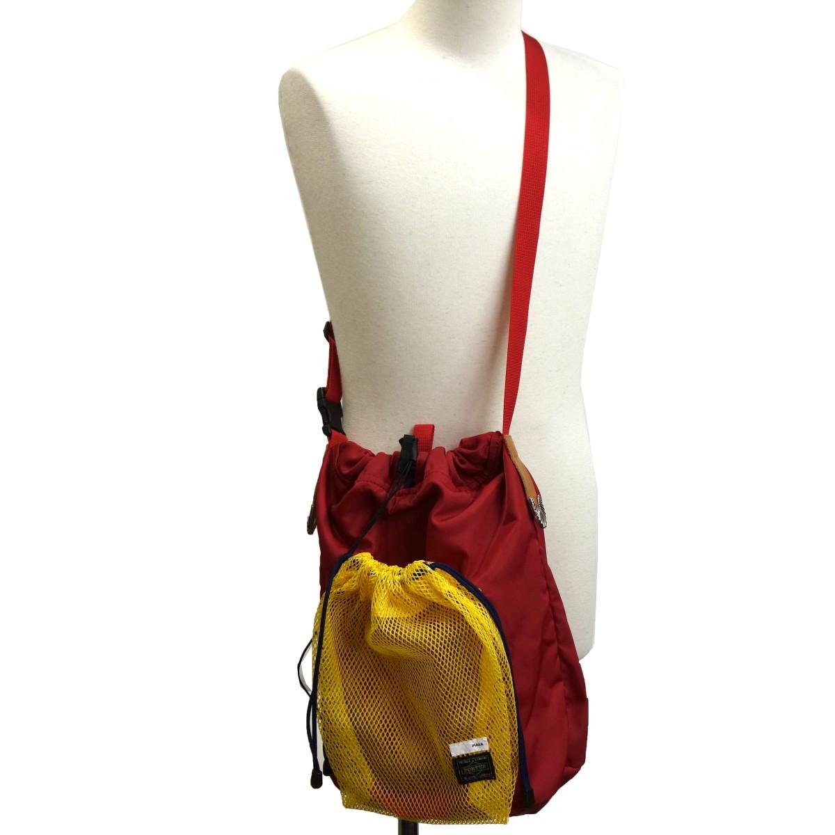 【中古】TOGA PULLA×PORTER 19SS「Mesh bag」 メッシュショルダーバッグ レッド サイズ:- 【150320】(トーガプルラ ポーター)