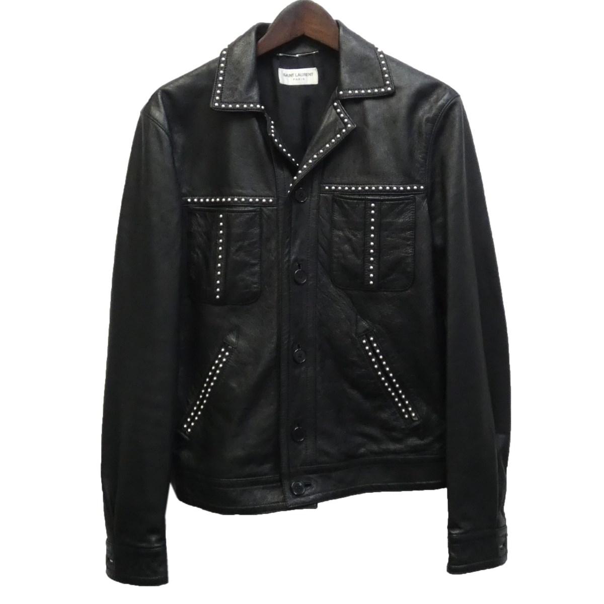【中古】SAINT LAURENT PARIS 16SS スタッズレザージャケット 409170 ブラック サイズ:42 【150320】(サンローランパリ)