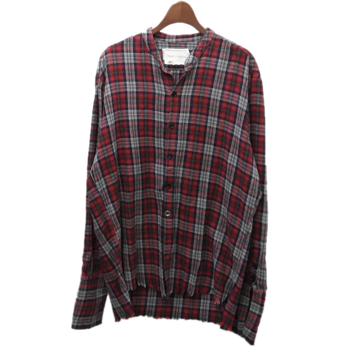 【中古】GREG LAUREN 「FLANNEL STUDIO SHIRT」 ダメージ加工チェックシャツ レッド サイズ:3 【160320】(グレッグローレン)